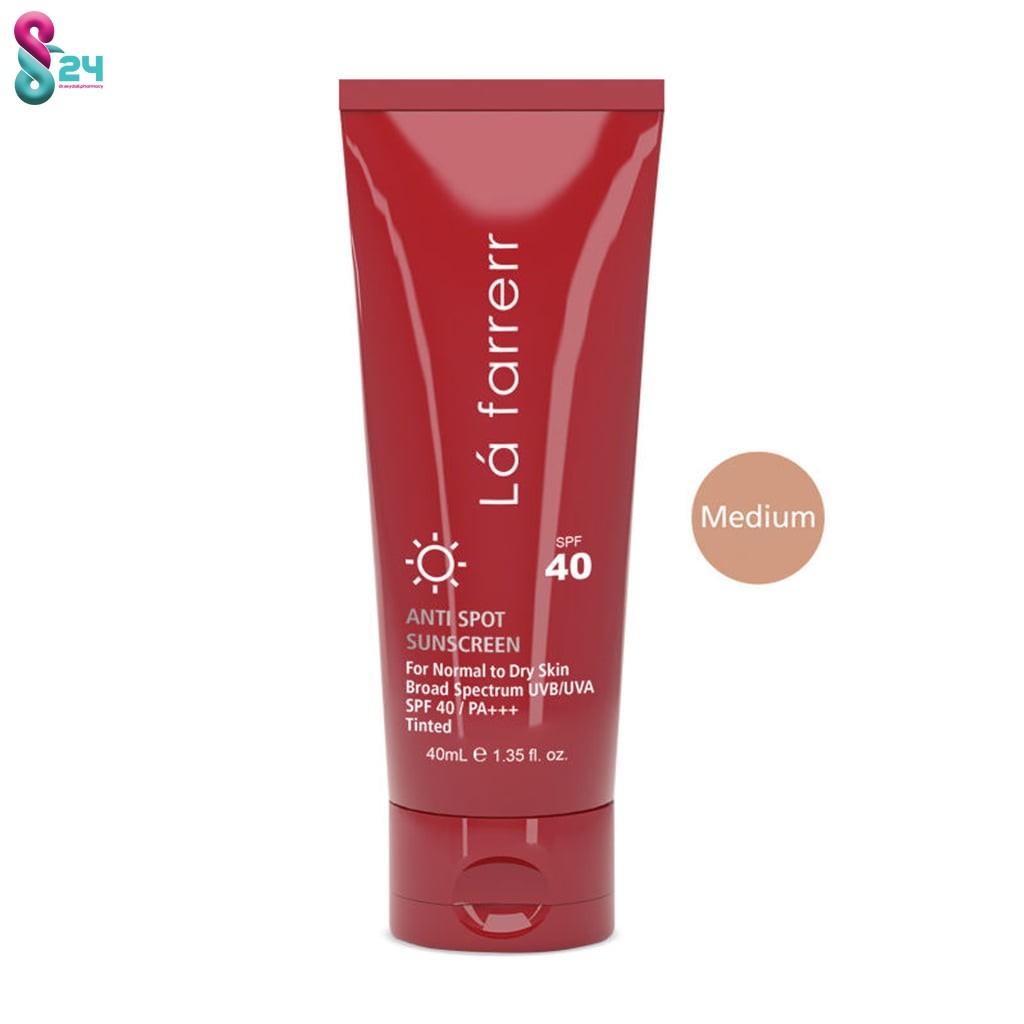 کرم ضد آفتاب SPF40 پوست خشک و معمولی لافارر بژ متوسط و ضد لک